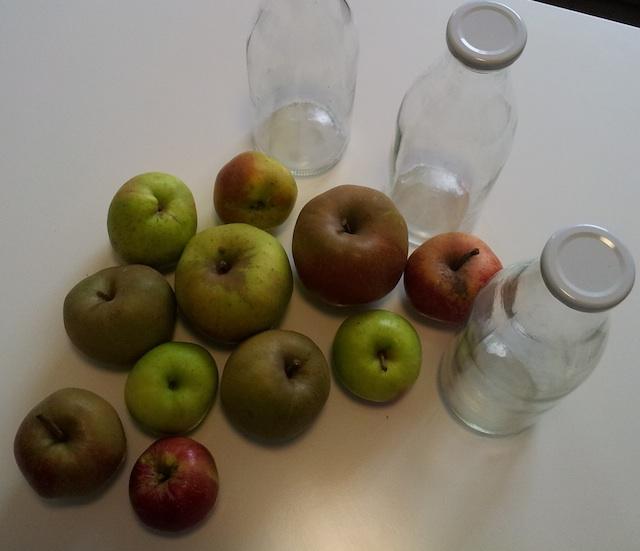 pommes et bouteilles