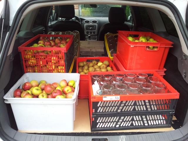 Transport des pommes jusqu'à la presse