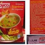 Composition d'une soupe déshydratée en sachet