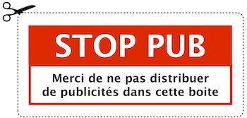 Découpez le sticker STOP-PUB et coller le sur votre boite à lettre